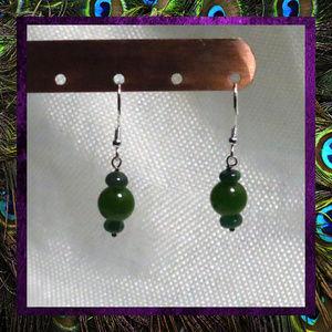 Green Emerald Gemstone Silver Earrings NWT
